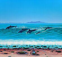 Rincon dolphins by Tim Laski