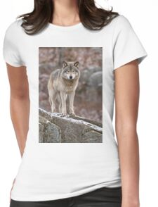 Timber Wolf on Rocks Womens Fitted T-Shirt