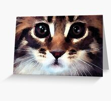watercolor calico cat with red nose Greeting Card
