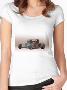 Rat Rod Pickup 'Life in the Low Lane' Women's Fitted Scoop T-Shirt