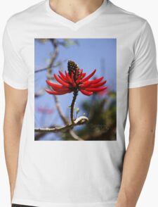 Red Mens V-Neck T-Shirt