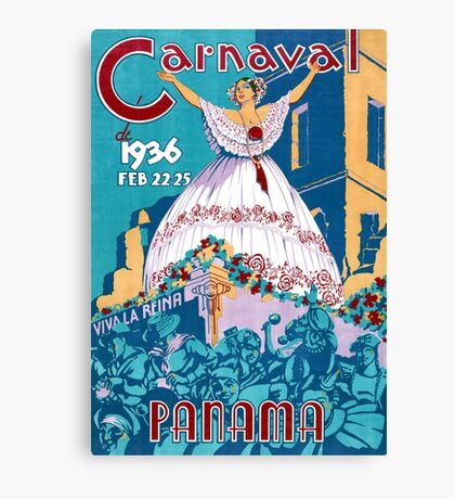Panama Carnival Vintage Travel Poster Restored Canvas Print