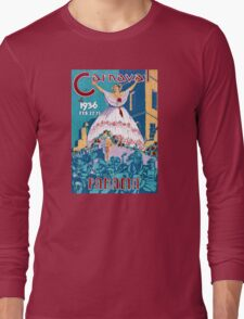 Panama Carnival Vintage Travel Poster Restored Long Sleeve T-Shirt