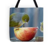 Holding the Apple Up! - Wax Eye NZ - Southland Tote Bag