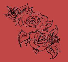Scarlet Summer Roses by hartzelldesign