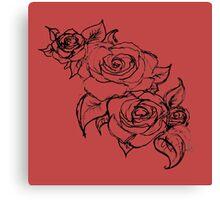 Scarlet Summer Roses Canvas Print
