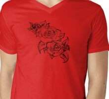 Scarlet Summer Roses Mens V-Neck T-Shirt
