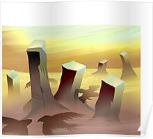 Silhouette  of eagles over the desert Poster