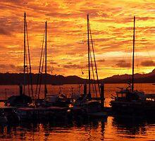 Sunset at Langkawi Harbour, Malaysia by Angela Gannicott
