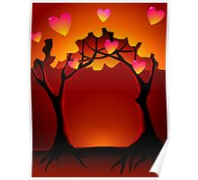 Romantic expression of the trees during sun rise Poster