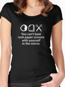 You Can't Beat Rock Paper Scissors Women's Fitted Scoop T-Shirt