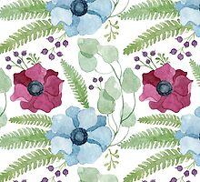 Burgundy and blue anemone flowers pattern by helga-wigandt