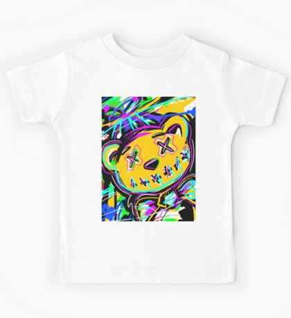 Abstract Art -- Stitched Bear with Bow Tie Kids Tee