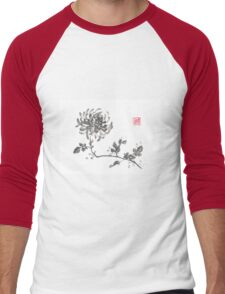 Golden dragon Chrysanthemum sumi-e painting Men's Baseball ¾ T-Shirt