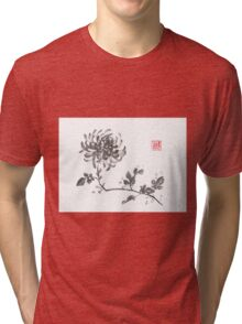 Golden dragon Chrysanthemum sumi-e painting Tri-blend T-Shirt