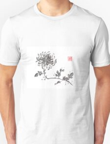 Golden dragon Chrysanthemum sumi-e painting Unisex T-Shirt