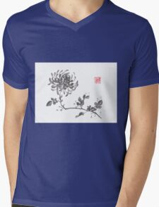 Golden dragon Chrysanthemum sumi-e painting Mens V-Neck T-Shirt
