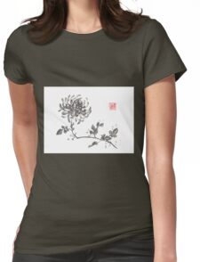 Golden dragon Chrysanthemum sumi-e painting Womens Fitted T-Shirt