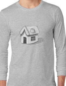 Naive Thatched House Sketch Long Sleeve T-Shirt