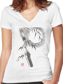 Moon blade bamboo sumi-e painting  Women's Fitted V-Neck T-Shirt
