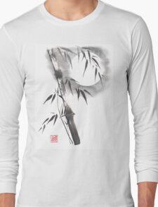 Moon blade bamboo sumi-e painting  Long Sleeve T-Shirt