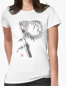Moon blade bamboo sumi-e painting  Womens Fitted T-Shirt