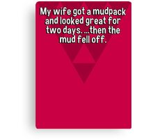 My wife got a mudpack and looked great for two days. ...then the mud fell off. Canvas Print