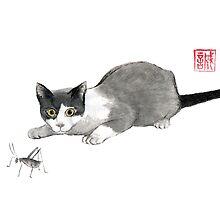 Silly cricket sumi-e painting. by Maryna Sokolyan