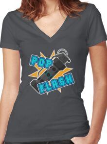 Pop Flash Women's Fitted V-Neck T-Shirt