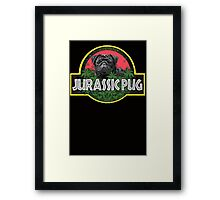 Jurassic Pug Funny Parody Urban Swag Framed Print