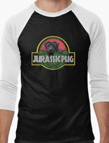 Jurassic Pug Funny Parody Urban Swag Men's Baseball ¾ T-Shirt