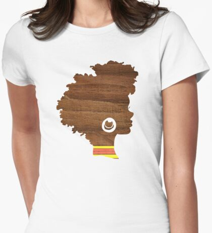 Sunny, Natural Hair Silhouette Womens Fitted T-Shirt
