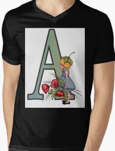 Letter A with Little Girl Holding Red Poppies Mens V-Neck T-Shirt