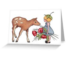 Little Fawn with Wood Sprite Girl and Poppies Greeting Card