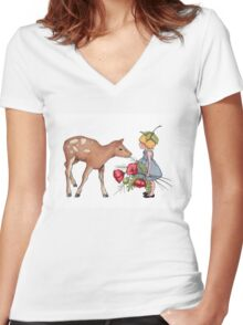 Little Fawn with Wood Sprite Girl and Poppies Women's Fitted V-Neck T-Shirt