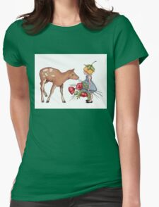 Little Fawn with Wood Sprite Girl and Poppies Womens Fitted T-Shirt