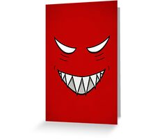 Red Grinning Face Evil Eyes Greeting Card