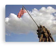 Raising the American Flag Canvas Print