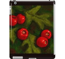 Hawthorn Berries in Oil Pastel, Red and Green iPad Case/Skin