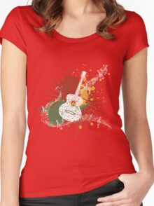 Music Poster with Guitar Women's Fitted Scoop T-Shirt