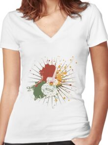 Music Poster with Guitar Women's Fitted V-Neck T-Shirt
