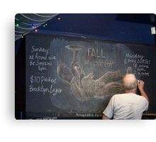 Portrait of the artists' bald head whilst doing chalk mural Canvas Print