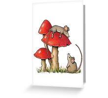 Two Mice and Red Toadstools, Color Pencil Artq Greeting Card