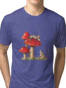 Two Mice and Red Toadstools, Color Pencil Artq Tri-blend T-Shirt