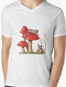 Two Mice and Red Toadstools, Color Pencil Artq Mens V-Neck T-Shirt