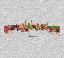 Glasgow Watercolor skyline One Piece - Short Sleeve