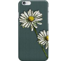 Two Daisies on Deep Green/Blue iPhone Case/Skin