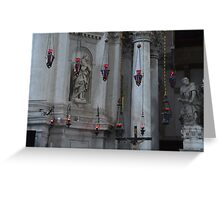 Red lights in church Greeting Card