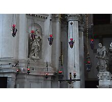 Red lights in church Photographic Print