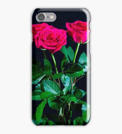Three Dark Pink Roses iPhone Case/Skin